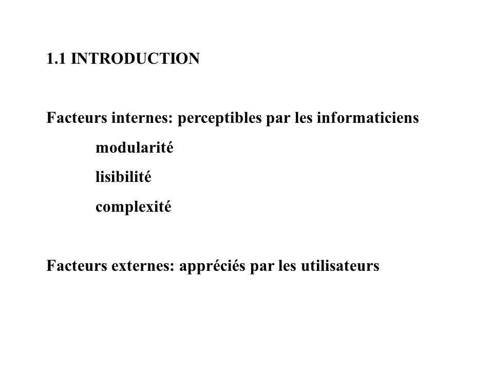 1.1 INTRODUCTION Facteurs internes: perceptibles par les informaticiens. modularité. lisibilité. complexité.