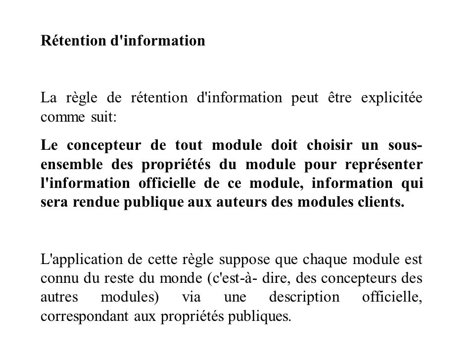 Rétention d information