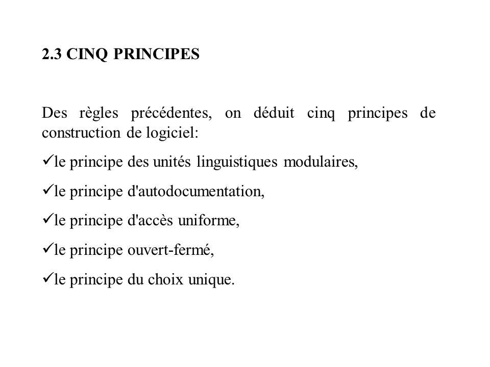 2.3 CINQ PRINCIPES Des règles précédentes, on déduit cinq principes de construction de logiciel: