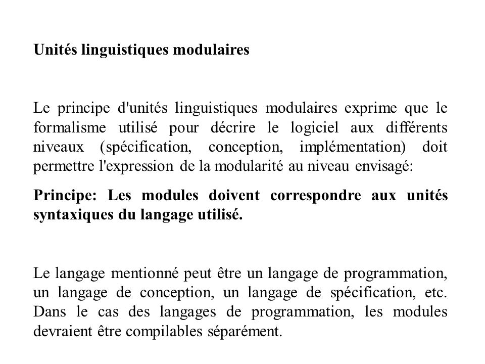 Unités linguistiques modulaires