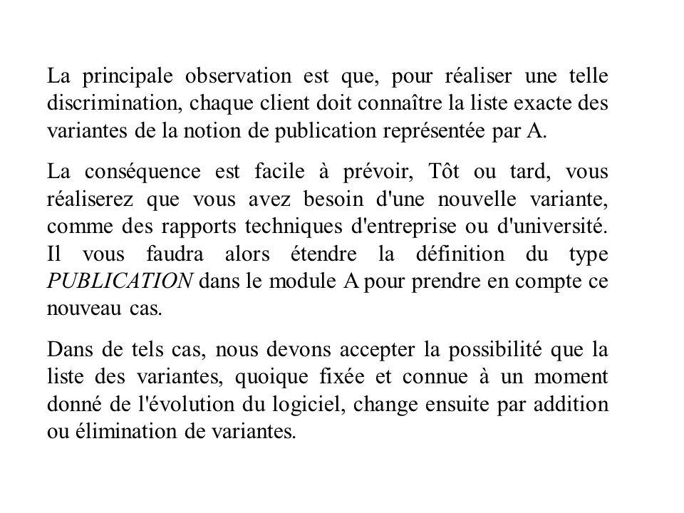 La principale observation est que, pour réaliser une telle discrimination, chaque client doit connaître la liste exacte des variantes de la notion de publication représentée par A.