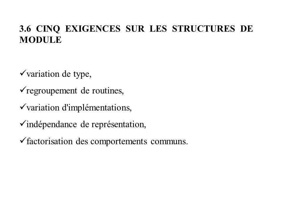 3.6 CINQ EXIGENCES SUR LES STRUCTURES DE MODULE
