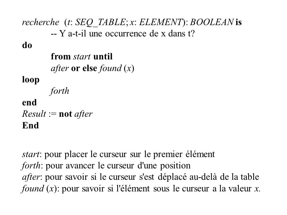 recherche (t: SEQ_TABLE; x: ELEMENT): BOOLEAN is