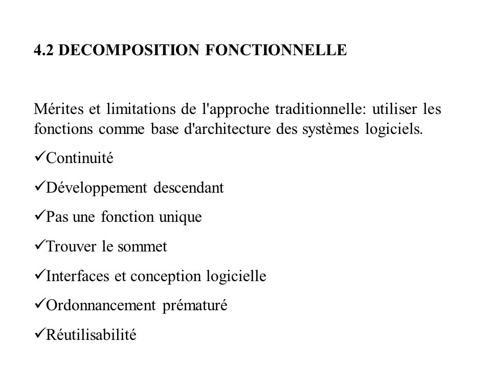 4.2 DECOMPOSITION FONCTIONNELLE