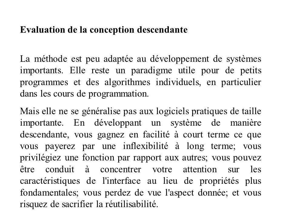 Evaluation de la conception descendante