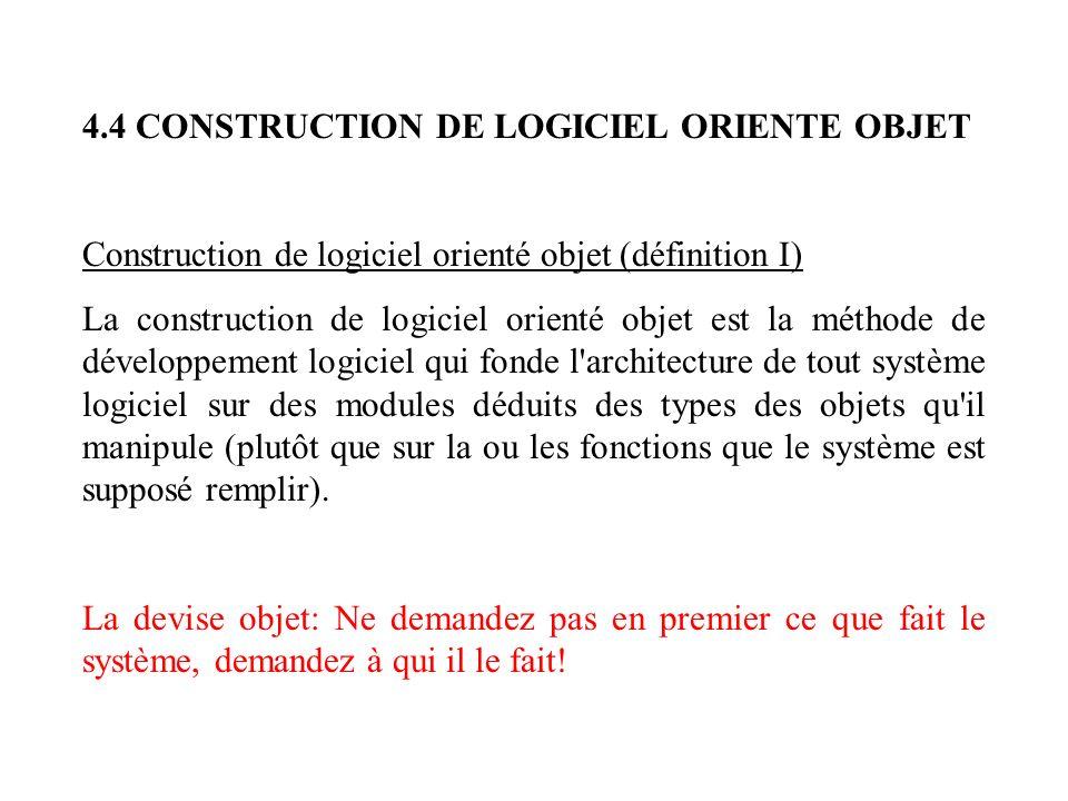 4.4 CONSTRUCTION DE LOGICIEL ORIENTE OBJET