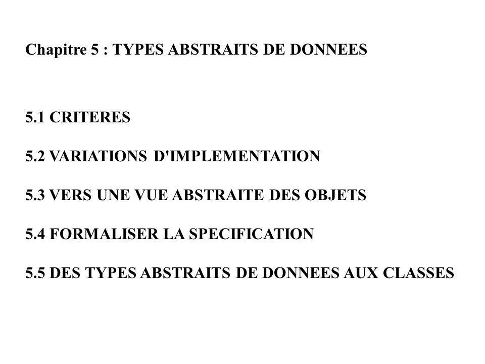 Chapitre 5 : TYPES ABSTRAITS DE DONNEES