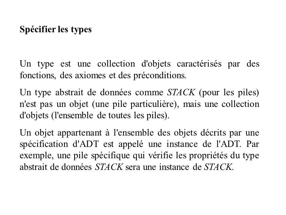 Spécifier les types Un type est une collection d objets caractérisés par des fonctions, des axiomes et des préconditions.