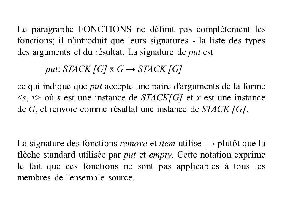 Le paragraphe FONCTIONS ne définit pas complètement les fonctions; il n introduit que leurs signatures - la liste des types des arguments et du résultat. La signature de put est
