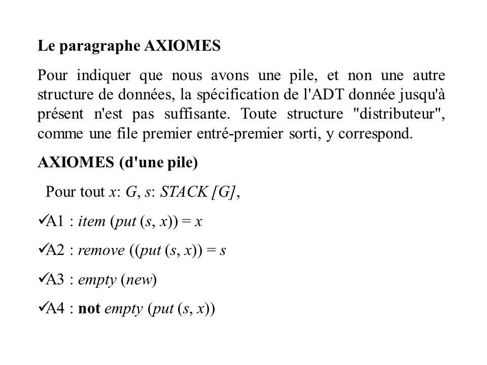 Le paragraphe AXIOMES