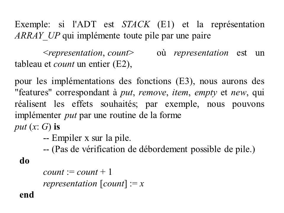 Exemple: si l ADT est STACK (E1) et la représentation ARRAY_UP qui implémente toute pile par une paire
