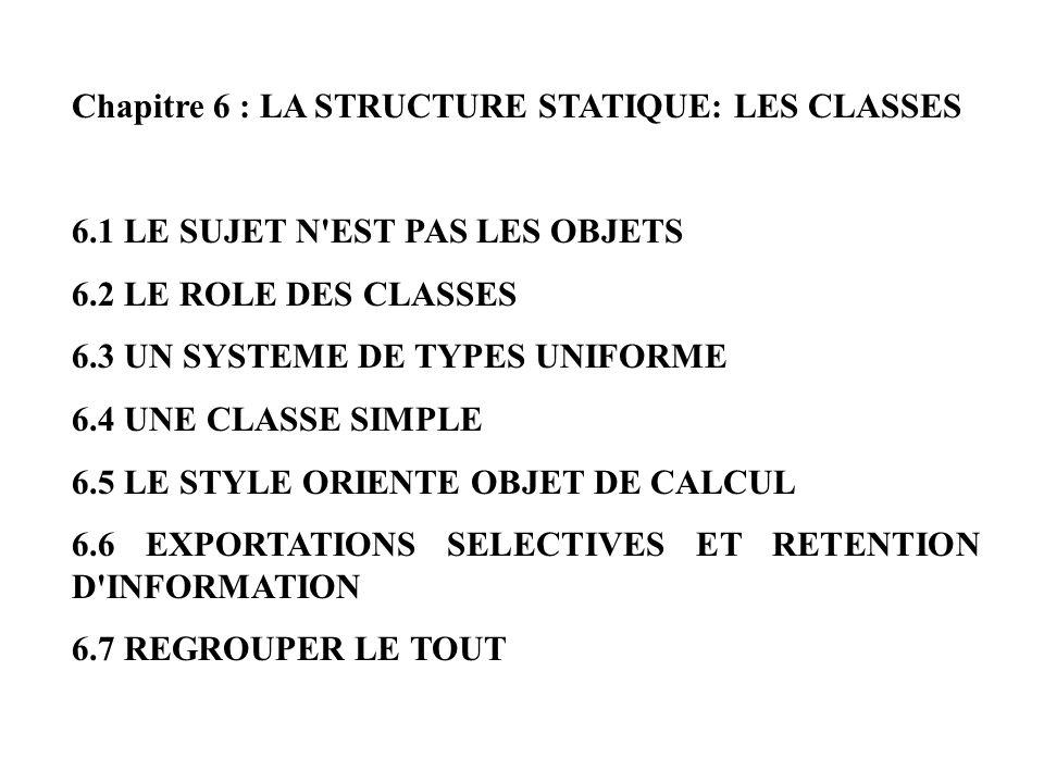Chapitre 6 : LA STRUCTURE STATIQUE: LES CLASSES