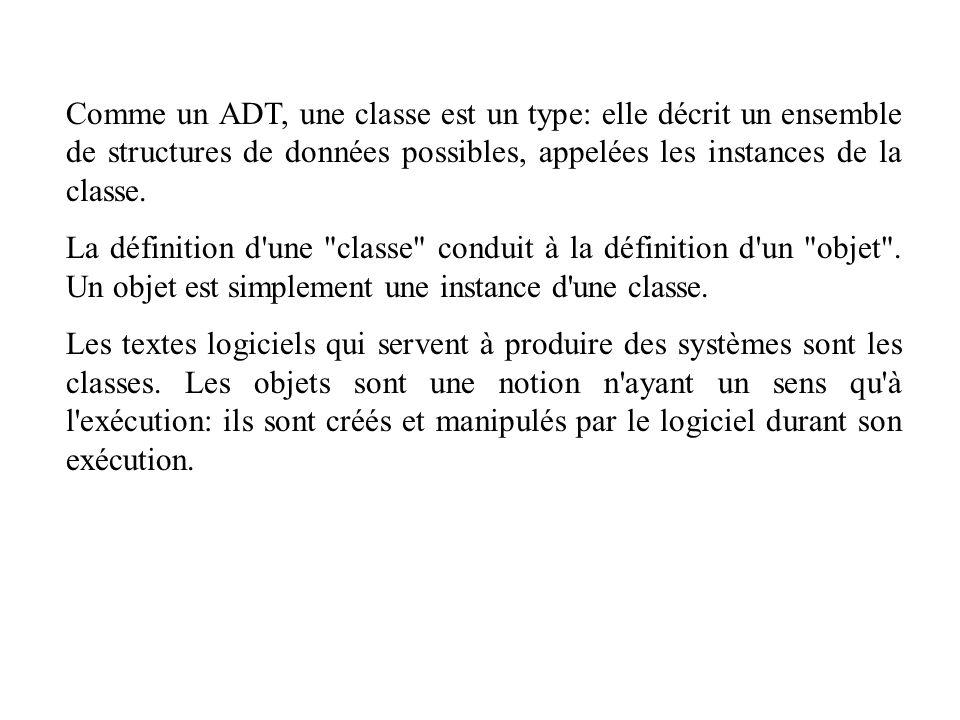 Comme un ADT, une classe est un type: elle décrit un ensemble de structures de données possibles, appelées les instances de la classe.
