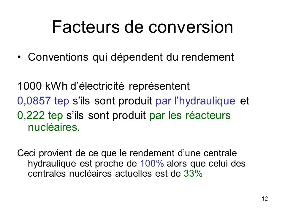 Facteurs de conversion