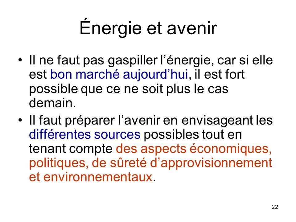 Énergie et avenir Il ne faut pas gaspiller l'énergie, car si elle est bon marché aujourd'hui, il est fort possible que ce ne soit plus le cas demain.