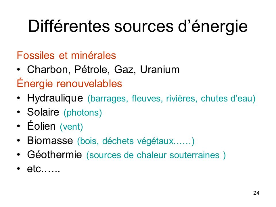 Différentes sources d'énergie