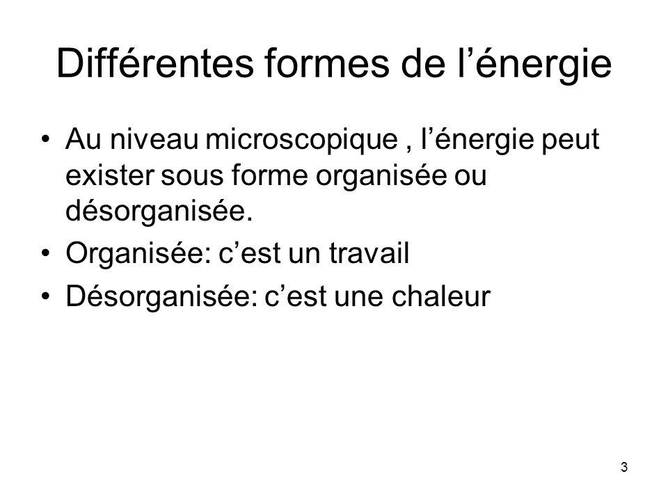 Différentes formes de l'énergie