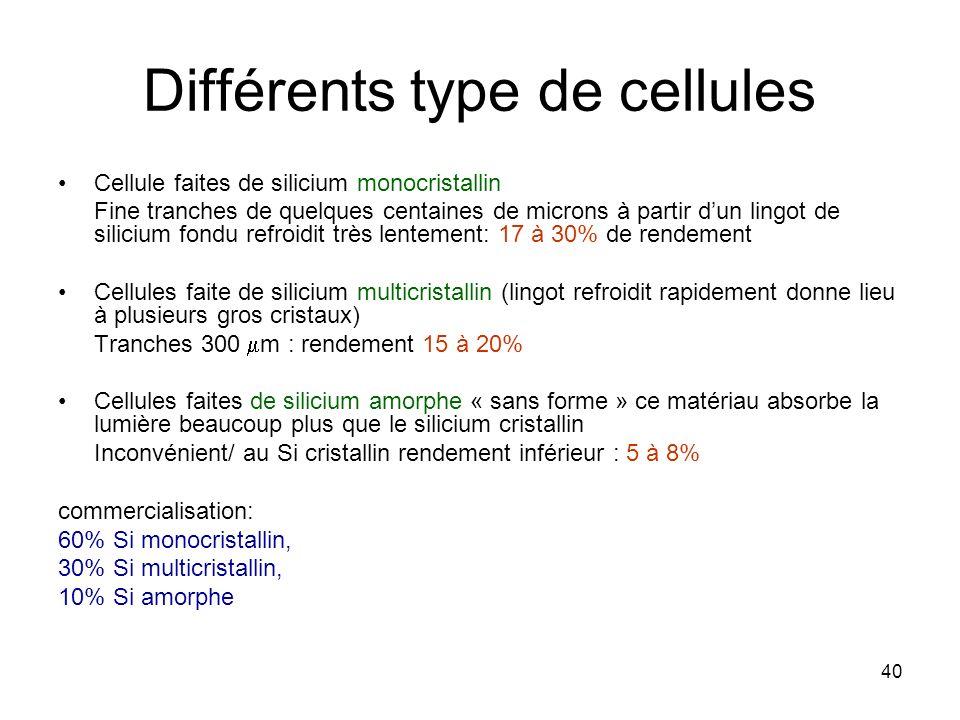 Différents type de cellules