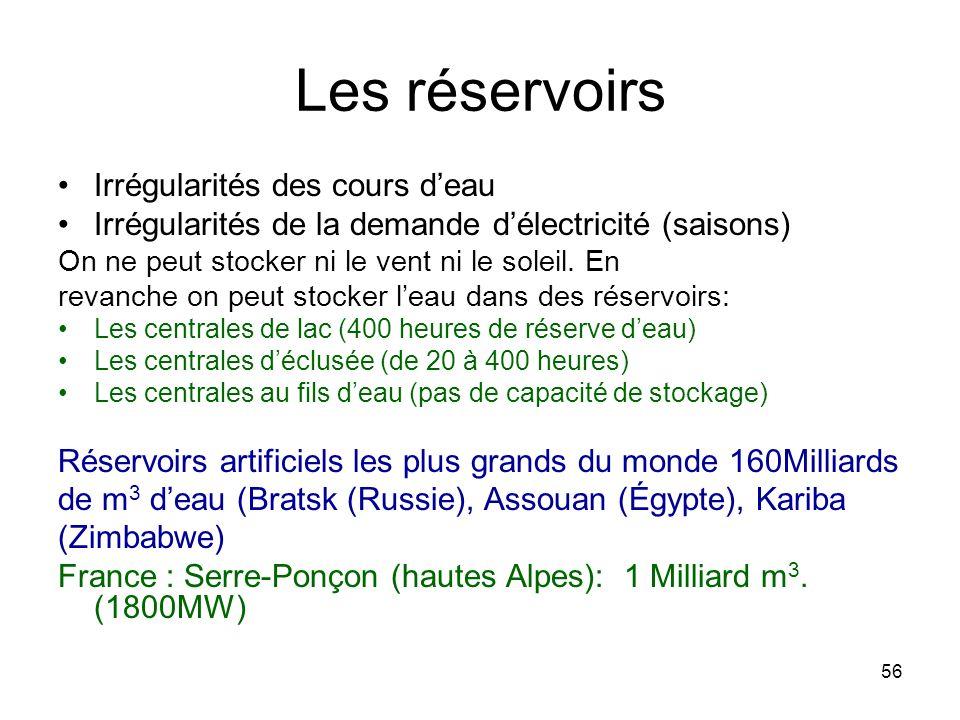 Les réservoirs Irrégularités des cours d'eau