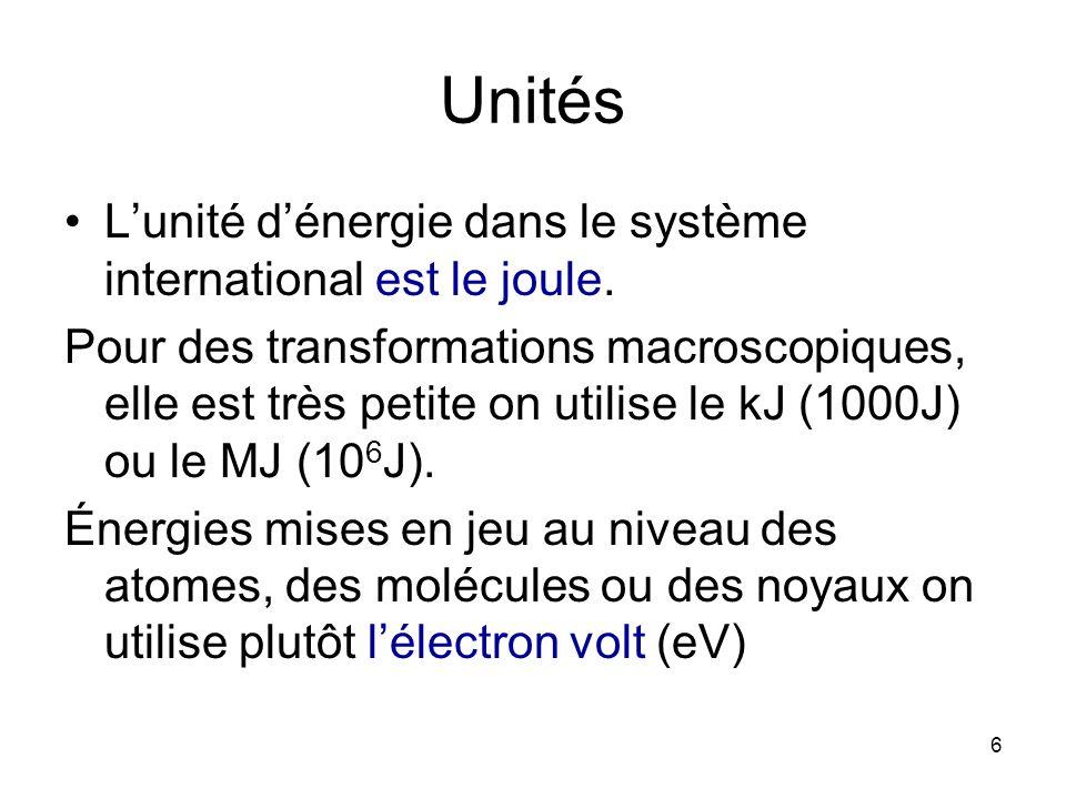 Unités L'unité d'énergie dans le système international est le joule.