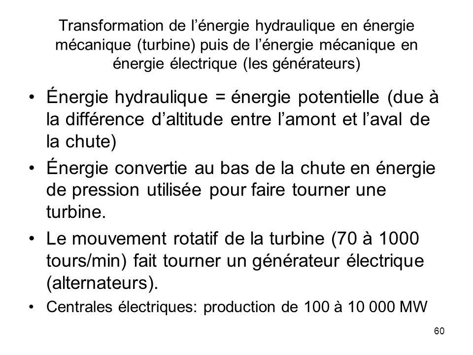 Transformation de l'énergie hydraulique en énergie mécanique (turbine) puis de l'énergie mécanique en énergie électrique (les générateurs)
