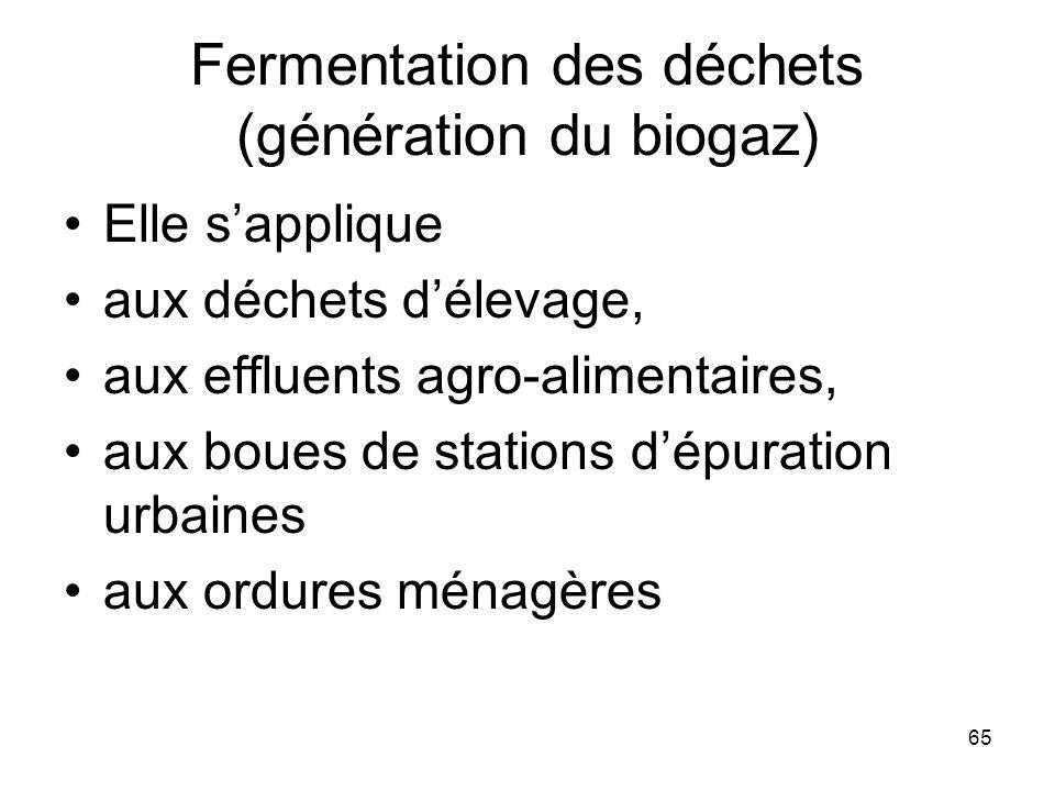 Fermentation des déchets (génération du biogaz)