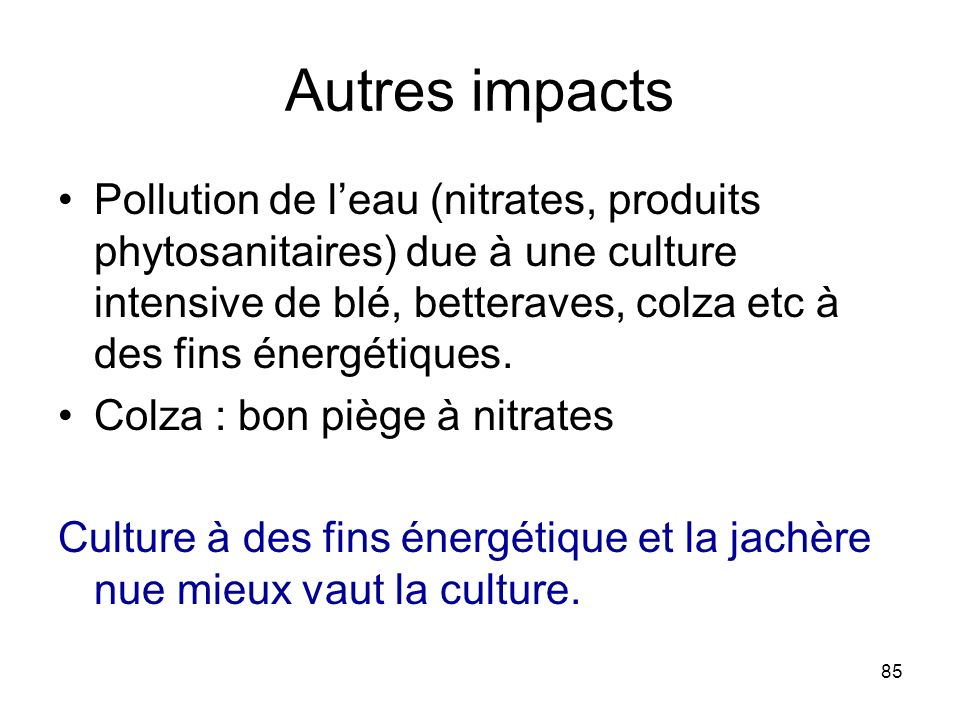 Autres impacts