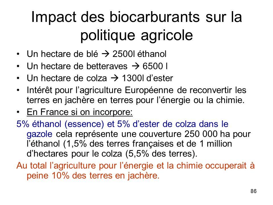 Impact des biocarburants sur la politique agricole