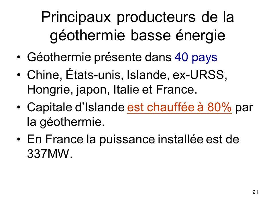 Principaux producteurs de la géothermie basse énergie
