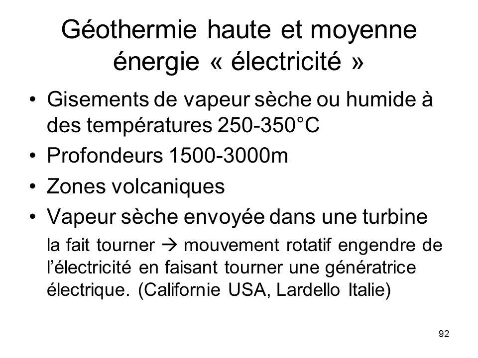 Géothermie haute et moyenne énergie « électricité »