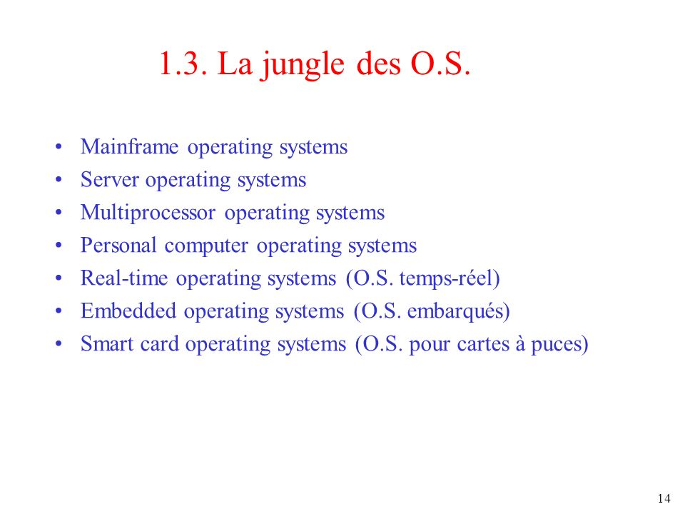 1.3. La jungle des O.S. Mainframe operating systems