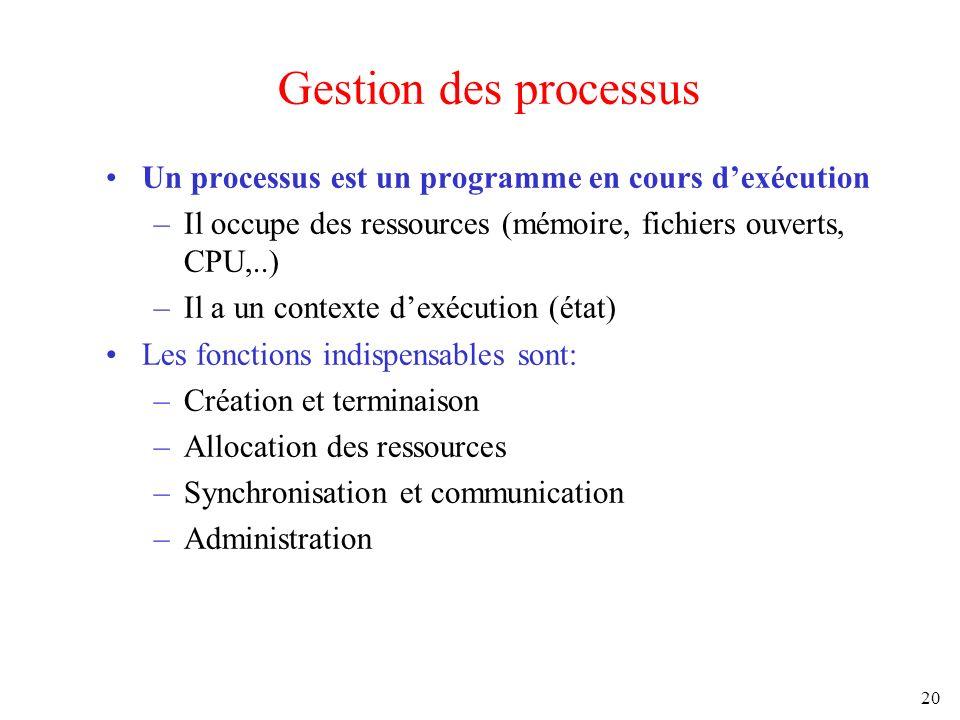 Gestion des processus Un processus est un programme en cours d'exécution. Il occupe des ressources (mémoire, fichiers ouverts, CPU,..)