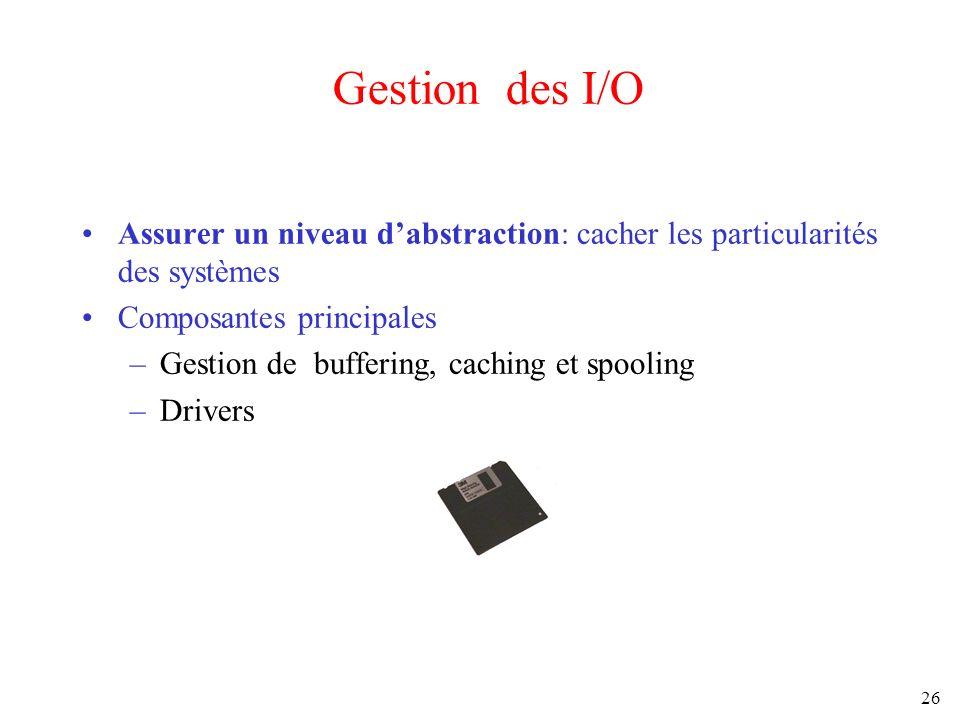 Gestion des I/O Assurer un niveau d'abstraction: cacher les particularités des systèmes. Composantes principales.