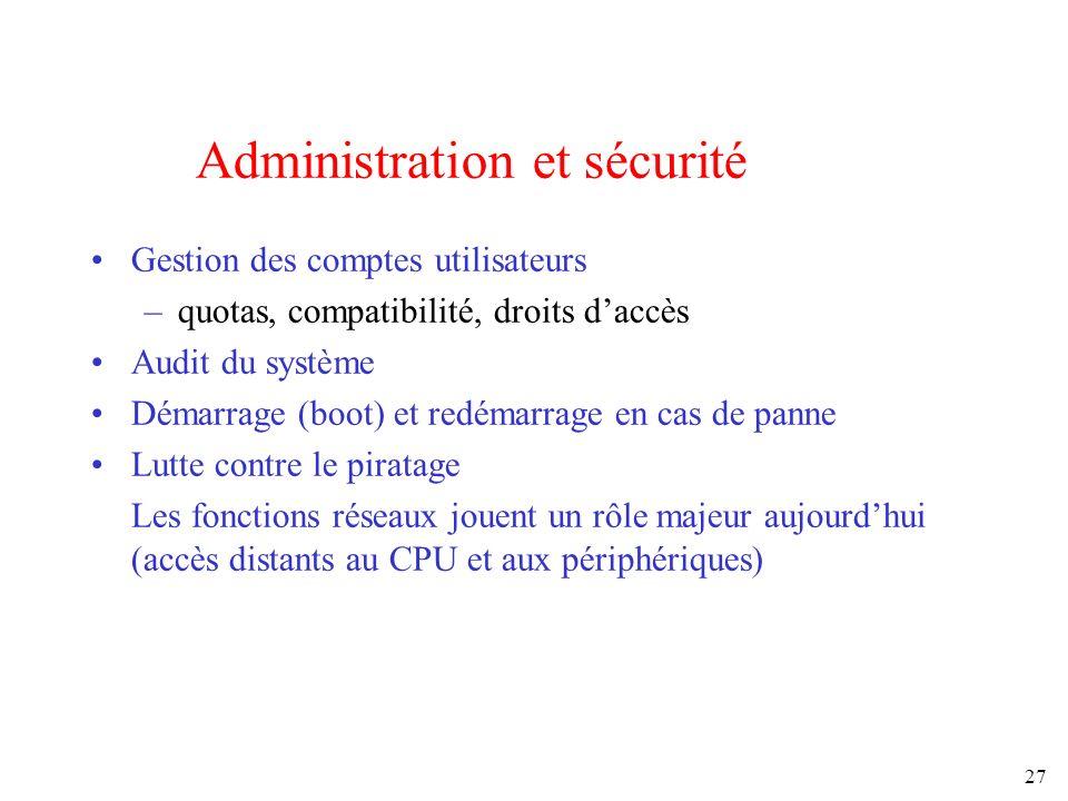 Administration et sécurité