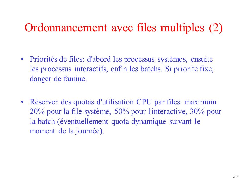Ordonnancement avec files multiples (2)
