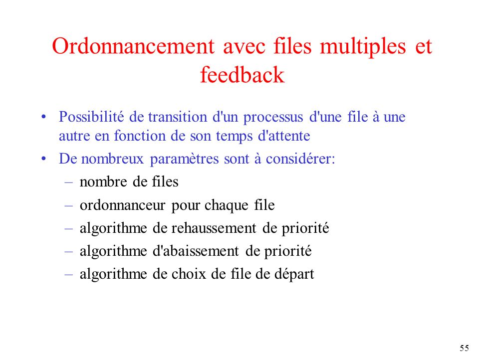 Ordonnancement avec files multiples et feedback