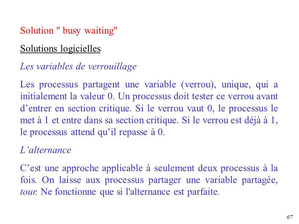 Solution busy waiting Solutions logicielles. Les variables de verrouillage.