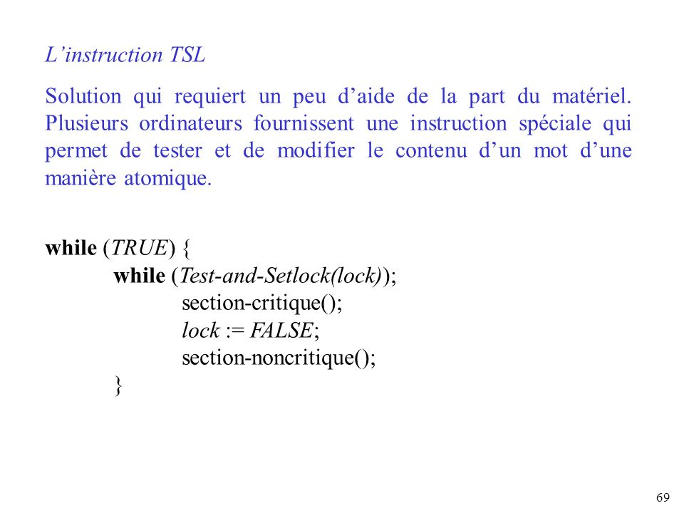L'instruction TSL