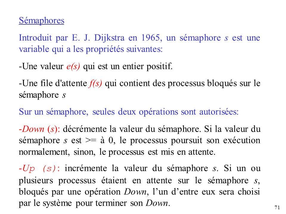 Sémaphores Introduit par E. J. Dijkstra en 1965, un sémaphore s est une variable qui a les propriétés suivantes: