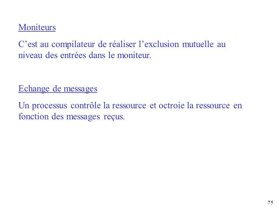 Moniteurs C'est au compilateur de réaliser l'exclusion mutuelle au niveau des entrées dans le moniteur.