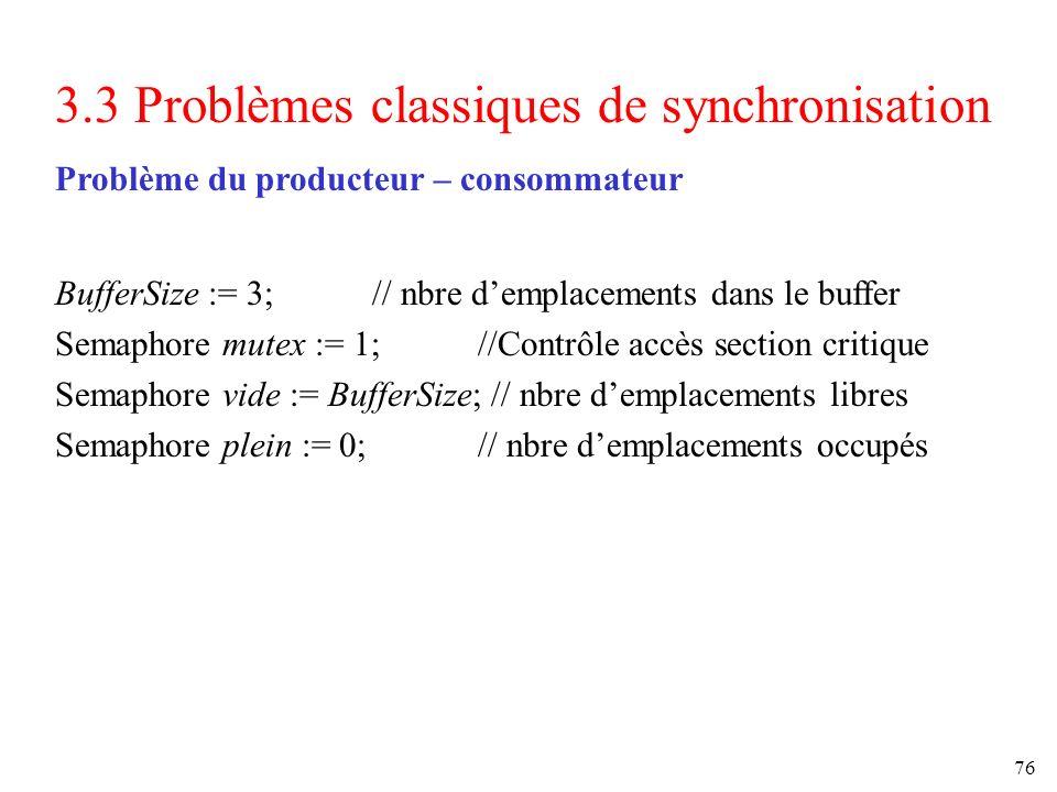 3.3 Problèmes classiques de synchronisation