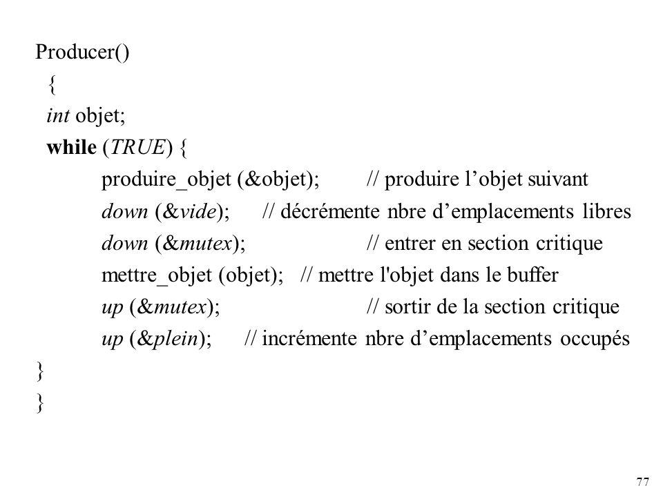 Producer() { int objet; while (TRUE) { produire_objet (&objet); // produire l'objet suivant.