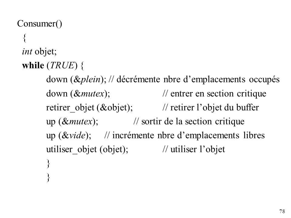 Consumer() { int objet; while (TRUE) { down (&plein); // décrémente nbre d'emplacements occupés.