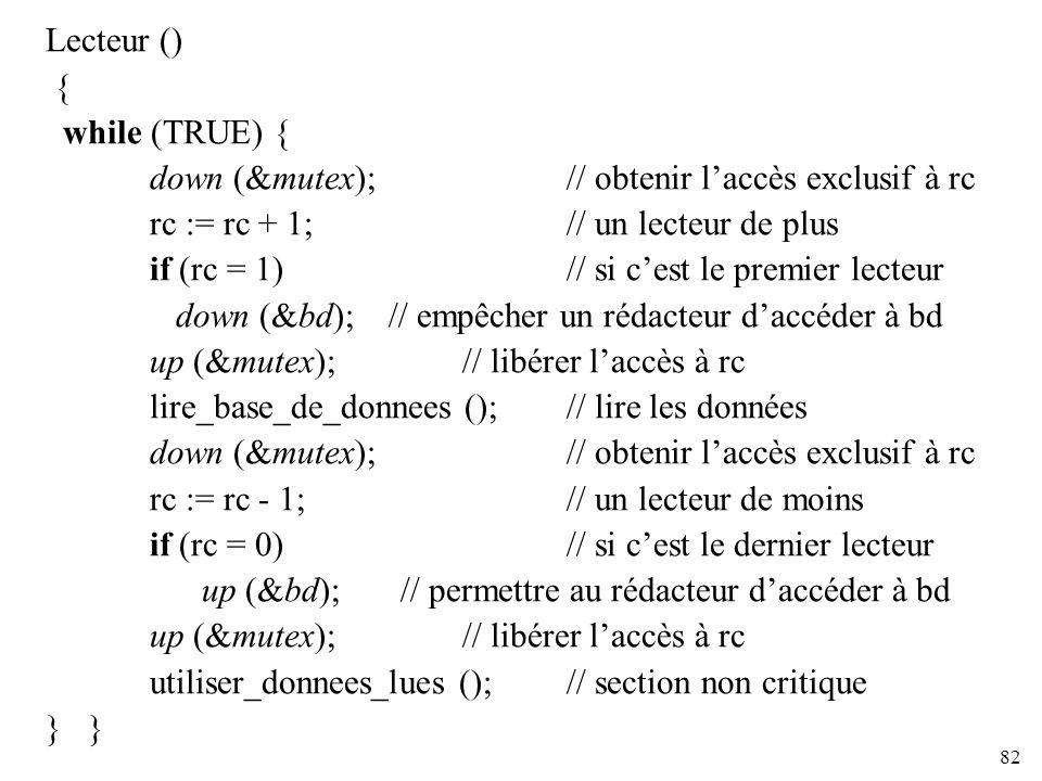 Lecteur () { while (TRUE) { down (&mutex); // obtenir l'accès exclusif à rc. rc := rc + 1; // un lecteur de plus.