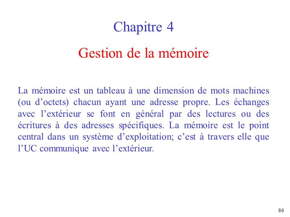 Chapitre 4 Gestion de la mémoire