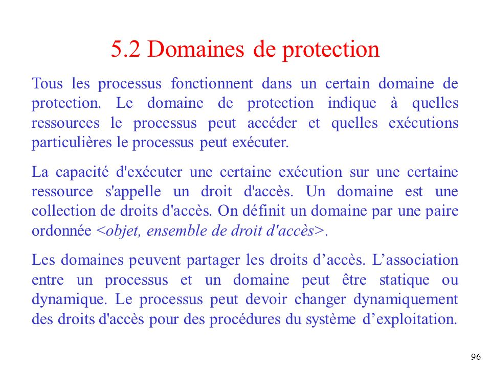 5.2 Domaines de protection