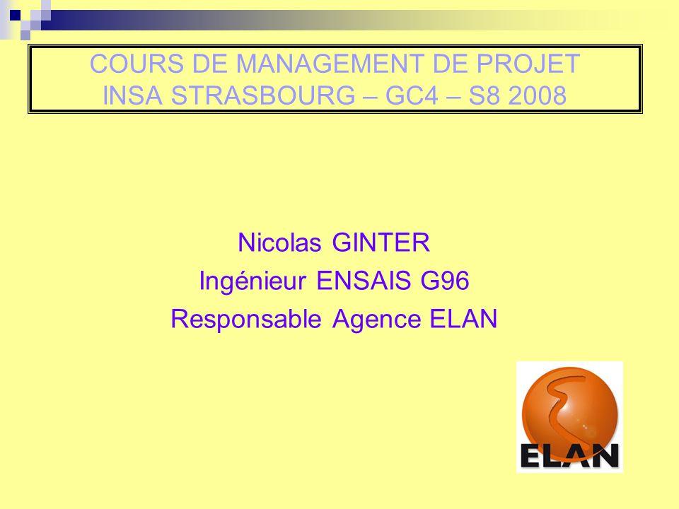 COURS DE MANAGEMENT DE PROJET INSA STRASBOURG – GC4 – S8 2008