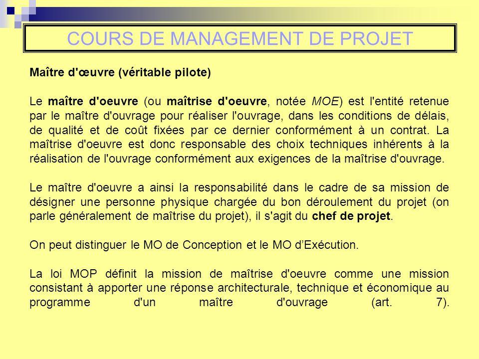 Cours de management de projet insa strasbourg gc4 s for Contrat de maitrise d ouvrage