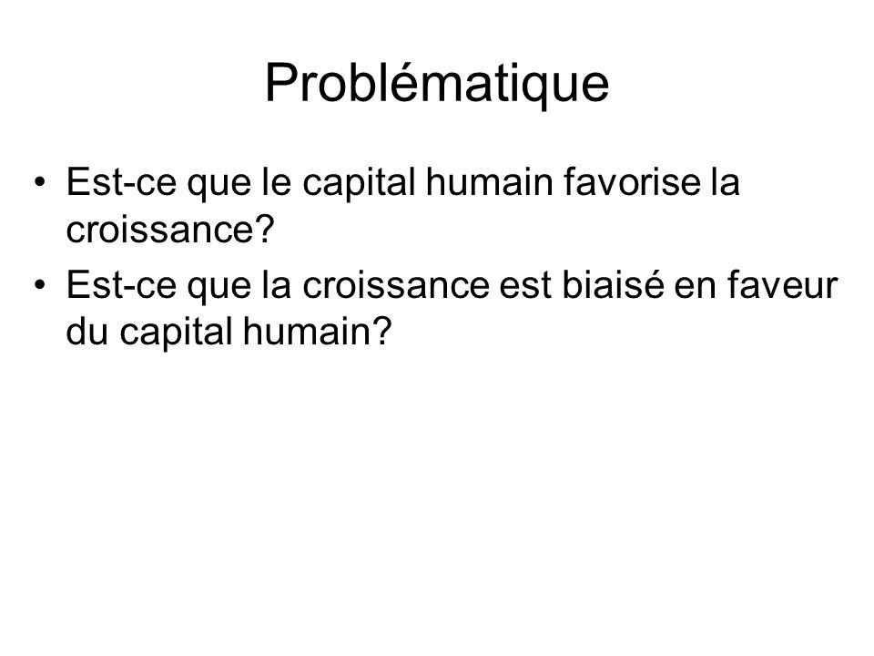 Problématique Est-ce que le capital humain favorise la croissance