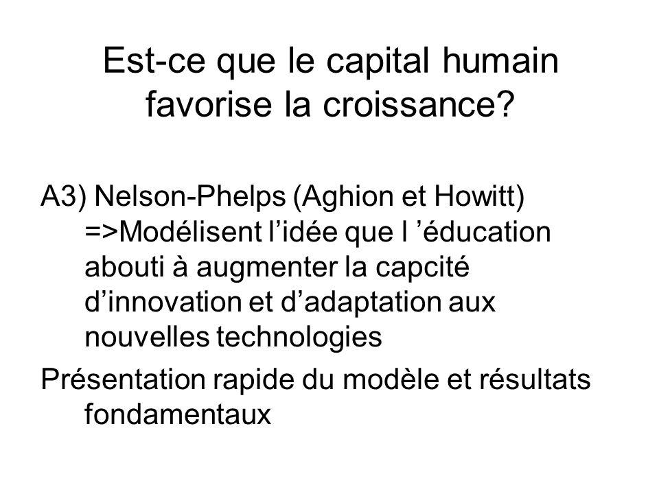 Est-ce que le capital humain favorise la croissance